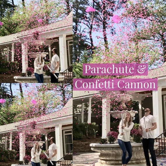 """24""""  CONFETTI & PARACHUTE CANNON Gender Reveal Confetti Cannon and Confetti Cannons! *New* Gender Reveal Idea! Ships Same Day!"""