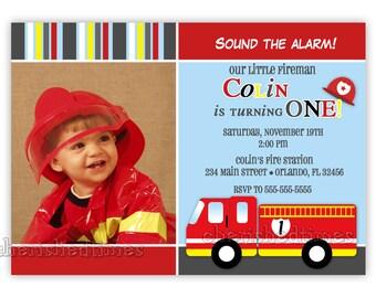 Little Firetruck Birthday Photo Card Invitation (You Print)