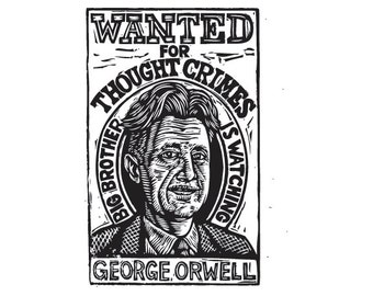 George Orwell Postcard - Literary Postcard - Author Postcard - Writer Gift - Postcards - 1984 Art - Orwell Art - Big Brother is Watching