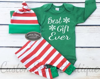 Baby Boys First Christmas Outfit, Best Gift Ever, Red and White Striped Leggings And Hat With Green Cuffs,Baby Boys Christmas Outfit
