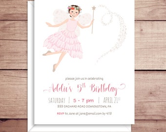 Fairy Party Invitations - Garden Fairy Birthday Invitations - Fairy Princess Invitations - Garden Fairy Birthday Invitation