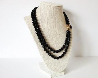 Vintage Double Strand Black Glass Necklace