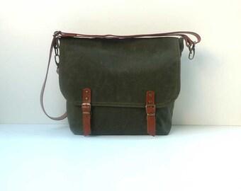 Army Green Messenger bag-waxed canvas messenger bag-mens messenger bag-army green waxed messenger bag