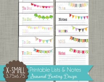 """Seasonal Bunting To-Do Lists & Notes {Printable} - Sized X-Small Personal 3.75 x 6.75 """" PDF"""