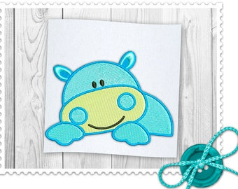 Hippo For Kids Machine Embroidery Design - 3 Sizes