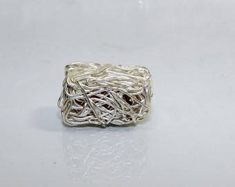 Rectangle 18 mm silver bead. Tangled silver wire.  Money first. (2682919)