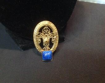 Vintage signed Czechoslovakian Gold Tone Filigree Scarf Clip  oval blue square Cabochon