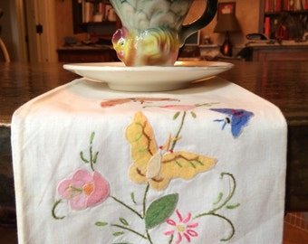 Vintage Cotton Tea Towel Embroidered Butterflies and Flowers