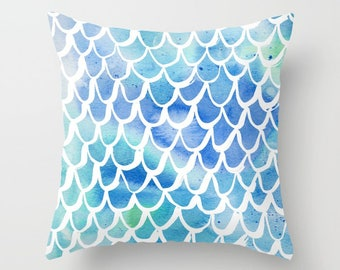 Mermaid Throw Pillow . Watercolor Pillow . Mermaid Cushion . Blue Pillow . Mermaid Tail Cotton Pillow . Watercolor Cushion 14 16 18 20 inch