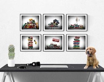 Set of SIX Stacked Matchbox Car Prints, Nursery Decor, Rustic Decor , Boys Wall Art, Car Prints, Boys truck Room