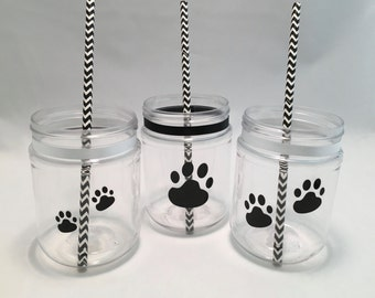 Paw Print Plastic Mason Jars, Treat Jars or Drink Cups Ideal for a Dog Party or Cat Party