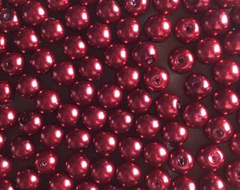 30 x 8mm red glass pearl beads