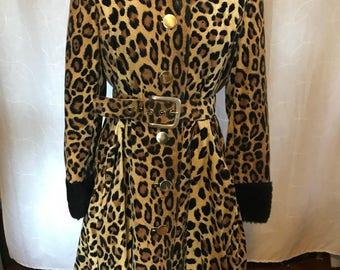 Vintage Leopard print belted swing coat