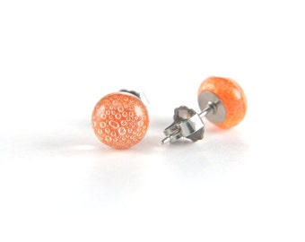 Bright tomato red stud earrings fused glass full of tiny bubbles with surgical steel posts