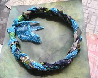 MIEVA Chunky Boho Handmade Braided Fabric Necklace Blue Green Black White Polka Dots
