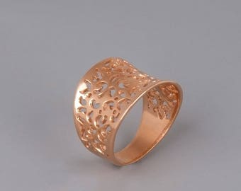Rose Gold Ring, Filigree Ring, Victorian Ring, Boho Chic Ring, Ethnic Ring, Lace Ring, Statement Ring, Gold, Sterling Silver, Indian Jewelry