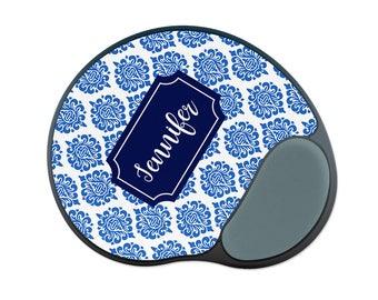 damask office accessories. personalized wrist rest mouse pad - blue damask mousepad office decor desk accessories best