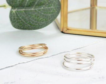 Sterling Silver Stacking Rings | Skinny Silver Stacker Set | Hammered Ring | Sterling Silver Midi Ring | Silver Textured Stacking Rings