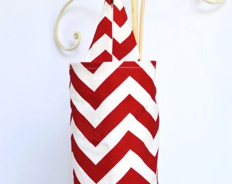 Fabric Plastic Grocery Bag Holder Red Chevron Zig Zag