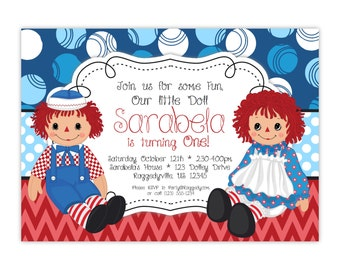 Raggedy Ann Invitation - Blue Polka Dots, Red Chevron, Raggedy Ann and Andy Personalized Birthday Party Invite - a Digital Printable File