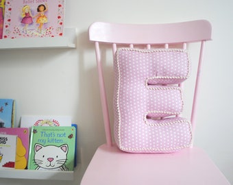 Baby Pink spotty Letter Cushion, personalised cushion,