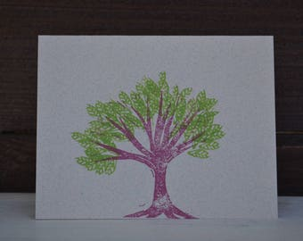 Hand stamped two-color tree cards set of 5