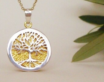 TREE OF LIFE pendant, silver gold pendant, family tree, gift for her, mother to be gift, tree of life jewelry, christmas jewelry gift