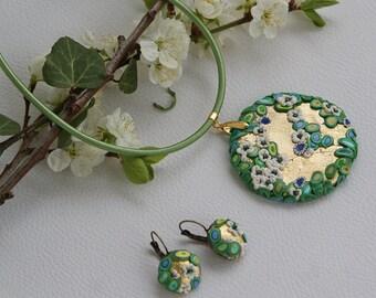 Gustav Klimt necklace, polymer clay necklace, gold flowers, Bridal Jewelry, Gustav Klimt, art bijoux, art deco, venetian necklace, art deco