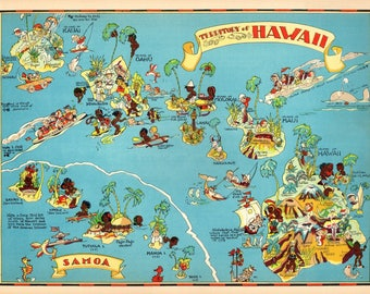 1930's Vintage Hawaii Picture Map State Cartoon Map Print Samoa Beach House Decor Map Collector Gift for Traveler Wedding Birthday RT