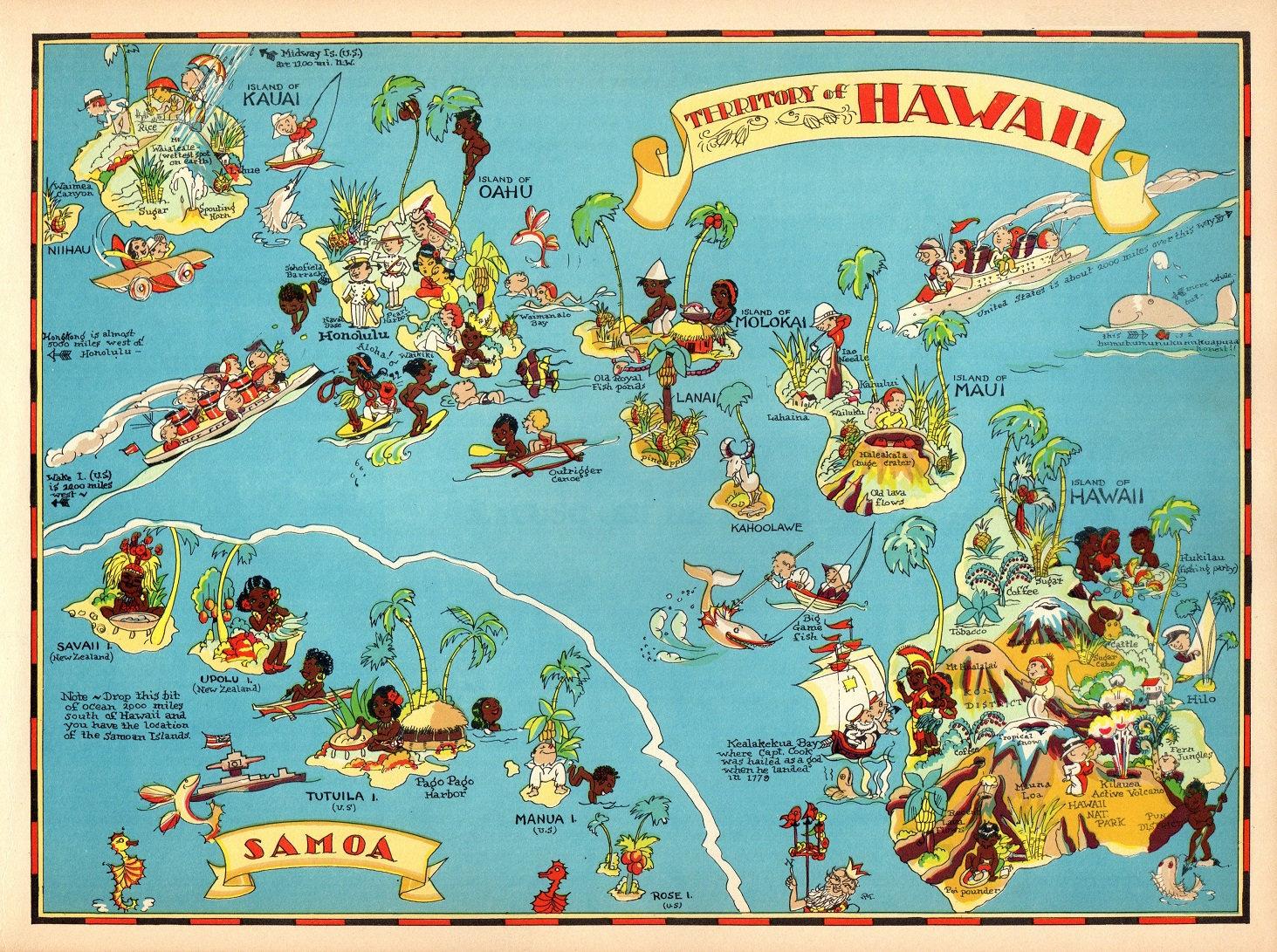 1930 Vintage Hawaii Bild Karte Staat Cartoon Karte Print Samoa