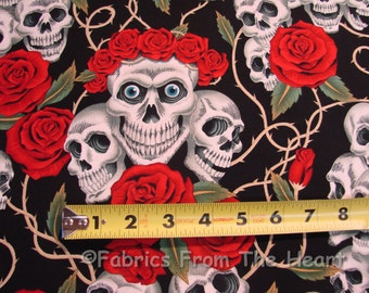 Red Rose Tattoo Skulls Bones on Black Blue Eyes BY YARDS Alexander Henry Cotton Fabric
