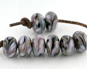 Violet Marble Handmade Glass Lampwork Beads (8 Count) by Pink Beach Studios - SRA (1981)