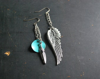 FREE Shipping - Boho Silver Mish Mash Dangle Earrings - silver, turquoise, wing, charms