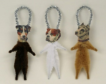 Dog Ornaments - Holiday Tree Ornaments - Chenille Christmas Ornaments