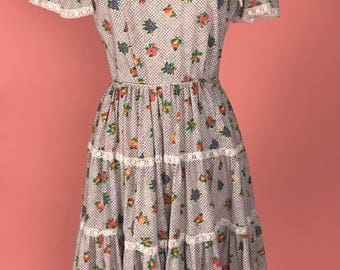 1950's Cotton Fruit Print Dress
