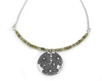 Boho Jewelry |  Metal Clay Jewelry Pendant Flower Necklace | Green Garnet Gemstone Necklace | Boho Necklace  Flower Pendant | Nature Lover
