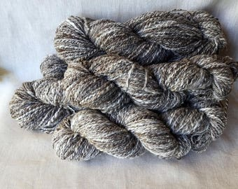 Handspun Natural Yarn - Mixed Grey Heather Jacobs Fleece - Fluffy as a Cloud