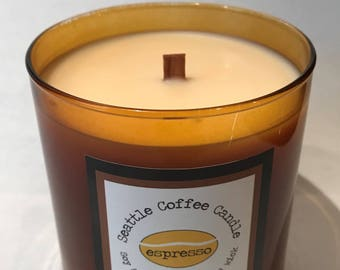 Seattle Coffee Candle -  60 Hour Soy and Coconut Wax Blend, Wood Wick, Glass Container
