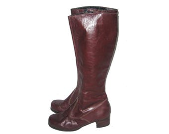 Vintage Made In Uruguay Reddish Brown Burgundy Side Zipper Chunky Heel Thigh High Hippie Boho Mod Disco Leather Boots Size 8 1/2 M