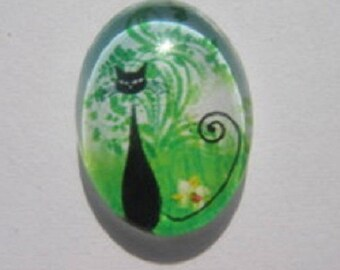 Cat in the grass, 18x25cm cabochon