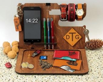Nightstand Organizer, Docking Station, iPhone Dock, Tech Organizer, Cell Phone Stand, Gift for Her, Anniversary Gift, Birthday Gift  Custom