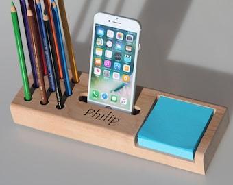 Stationary desk organizer,Desk organiser,Mother's day gift,Office organizer,Docking station,Gift for him,Gift for her,Personalized gift idea