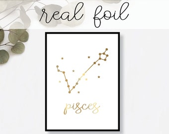 Pisces Constellation Print // Real Gold Foil // Minimal // Gold Foil Art