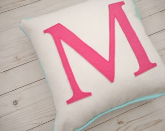 Custom monogram pillow, personalized pillow, Initial pillow, pillow with letter, wedding gift, personalized pillow case