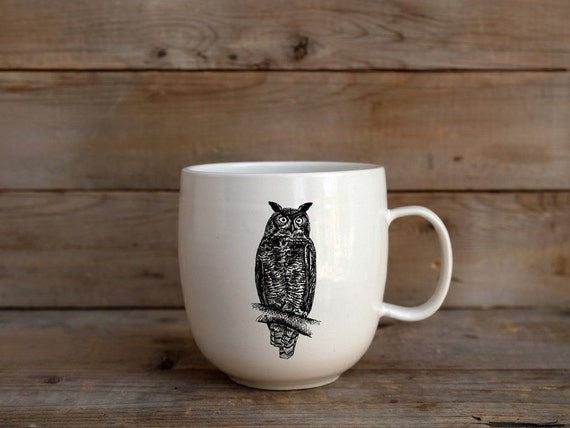 Handmade Porcelain coffee mug with Great horned owl drawing Canadian Wildlife collection