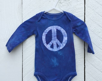Peace Sign Baby Bodysuit, Blue Peace Sign, Baby Boy Peace Sign, Baby Girl Peace Sign, Gender Neutral Baby Gift, Peace Baby Gift (6 months)