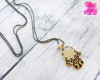 Hamsa necklace, Black pendant necklace, Fatima hand, Long everyday necklace, Dainty gold necklace, Enamel necklace, Boho necklace, Chic