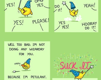 Little Petulant Wizard Duck Greeting Card