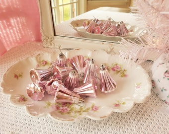 Shabby PINK Bell Ornaments - vintage style, faux glass, fluted