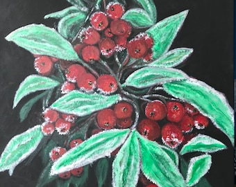Acrylic painting on canvas : Winter berries.  Beauty of creation in winter.